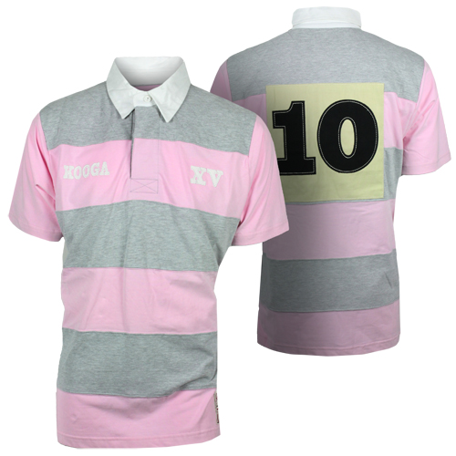 Kooga beach rugby striped retro pink grey menswear for Pink and purple striped rugby shirt
